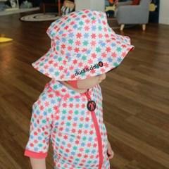 데이빗앤케이트 유아 일체형 래쉬가드 모자 세트 - 릴리
