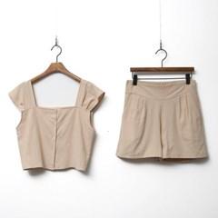 [Set] Linen Cotton Top + Shorts
