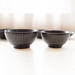 도자기 공기대접 세트 (블랙) (밥그릇, 국그릇)