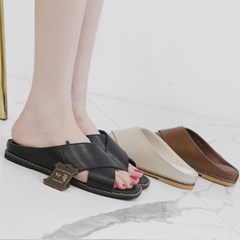 kami et muse Wide cross strap leather slippers_KM19s273