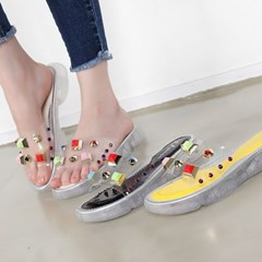 kami et muse Color stud beads clear slippers_KM19s270