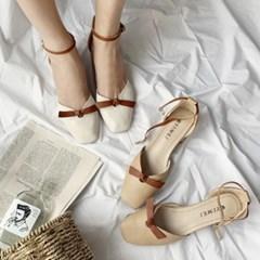kami et muse Ankle strap middle heel ribbon sandals_KM19s277