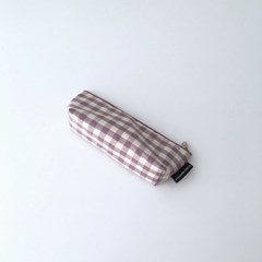 보라 체크 필통(Purple check pencil case)
