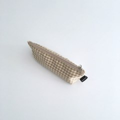 베이지 체크 필통(Beige check pencil case)