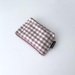보라 체크 파우치(Purple check pouch)