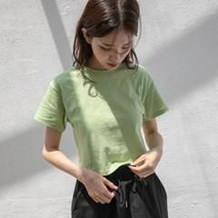 [치즈달] 리본 넥 스트라이프 크롭 티셔츠