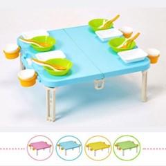 컬러 피크닉 휴대용 접이식 캠핑 테이블 세트_(1616651)