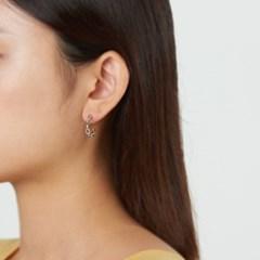무광 체인 S 링 귀걸이