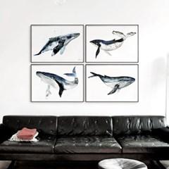 메탈 동물 그림 포스터 일러스트 액자 고래 ver4