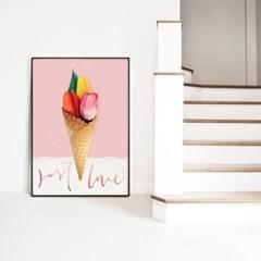 메탈 식물 포스터 인테리어 액자 아이스크림 꽃 B