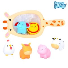 해피플레이 동물친구들과 목욕놀이 아기 물놀이 뜰채 장난감