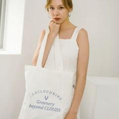 Blue lettering white bag