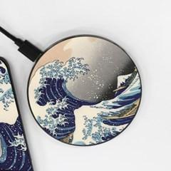 [호쿠사이] The Great Wave - 무선충전 명화디자인패드