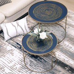 리빙쇼 블루 서클 원형 소파 테이블