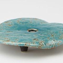 도자기 연잎 차호 받침 블루