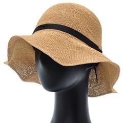 [더그레이]PKP17.블랙리본 밀짚 여성 여름 비치 모자