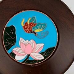 GZBL-017 흑단목 나비 꽃 무늬 찻잔 받침-블루