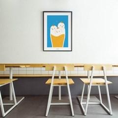 유니크 인테리어 디자인 포스터 M 치맥퐁당 치킨과 맥주