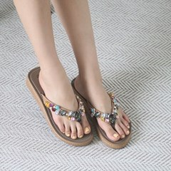 kami et muse Jewel beads wedge flip flop_KM19s312