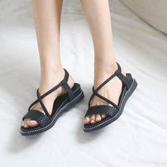 kami et muse Mesh strap mini wedge sandals_KM19s317