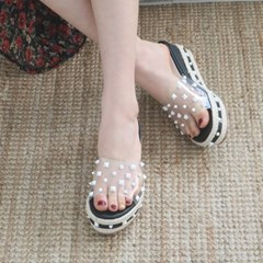 kami et muse White stud wedge slippers_KM19s318