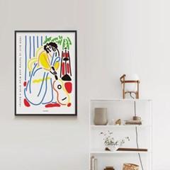 인테리어 디자인 포스터 M 노란색, 파란색 옷을 입고 기타를 든 소녀