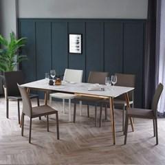 제나 화이트 세라믹 6인용 식탁 세트 1800 B_(2110373)