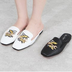 kami et muse Gold chain embroidery leather slippers_KM19s323