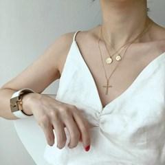 [925실버] 골드 썬 코인 목걸이 gold sun coin necklace