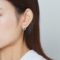 블루 플라워 리스 귀걸이
