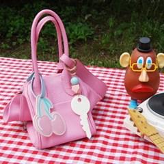 핑크체리 네임택+열쇠모양 키링