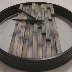 비비드우드 무소음 염색나무 블루그레이 원목벽시계