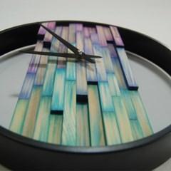 비비드우드 무소음 염색나무 블루바이올렛 원목벽시계