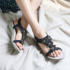 kami et muse Cubic flower mini wedge sandals_KM19s333