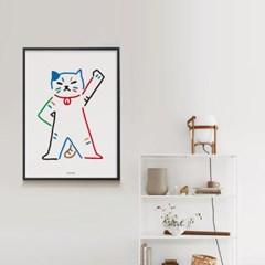 유니크 인테리어 디자인 포스터 M 고양이가 최고야!