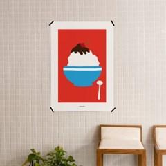유니크 인테리어 디자인 포스터 M 달콤한 팥빙수 여름 카페