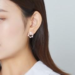 핑크 자개 플라워 리스 귀걸이