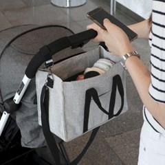 코니테일 마티네 숄더백 캔버스 - 베이지스트라이프(기저귀가방)