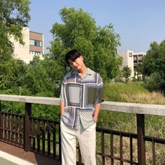 몰딥 페이즐리 실켓 반팔 셔츠(2color)