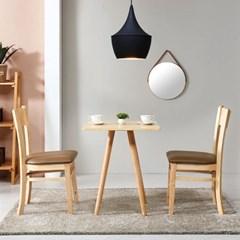 브라우니 원목 가죽 식탁 의자 2개