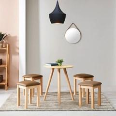 브라우니 2-4인 원형 식탁 티테이블 세트(스툴2개포함)