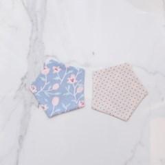 {펜타곤양면코스터}블루핑크 플라워&핑크도트 coaster 컵받침
