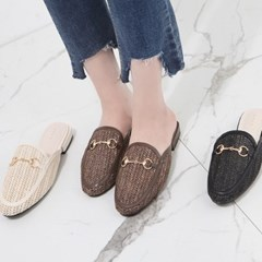 kami et muse Gold chain mesh blofer slippers_KM19s343