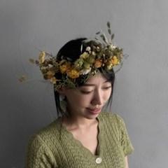 [프리저브드/드라이플라워/조화] 꽃 화관 연예인 화관 (Yellow)