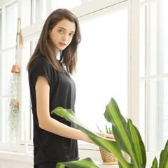 여성 요가복 DEVI-T0015-블랙 필라테스 가오리 티셔츠