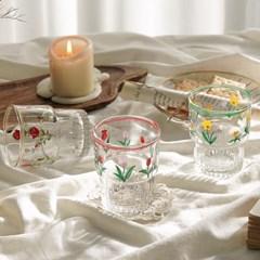 레트로 플라워 라인 유리컵
