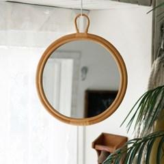 라탄 라운드 거울