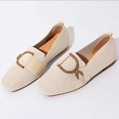 kami et muse Gold cubic pendent knit loafers_KM19s355