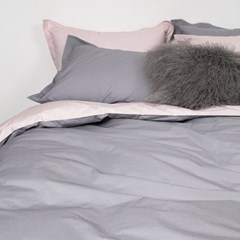 80s Soft Washing Two Tone Cotton Bedding Set_pink & gray_Q