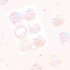 마넷 원형 라벨 - 벚꽃 밤비